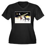 XmsDove/3 Horses (Ar) Women's Plus Size V-Neck Dar