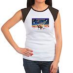 XmsSunrs/3 Horses (Ar) Women's Cap Sleeve T-Shirt