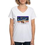 XmsSunrs/3 Horses (Ar) Women's V-Neck T-Shirt
