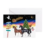 XmsSigns/3 Horses (Ar) Greeting Cards (Pk of 10)