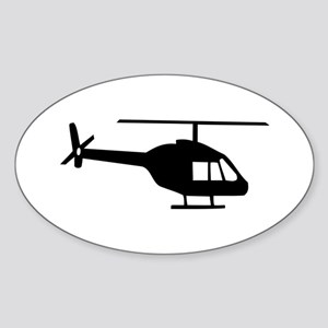 Helicopter Oval Sticker