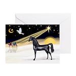 XmasDove/Horse (Ar-blk) Greeting Cards (Pk of 10)