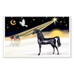 XmasDove/Horse (Ar-blk) Rectangle Sticker 10 pk)