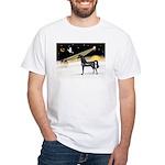 XmasDove/Horse (Ar-blk) White T-Shirt