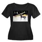 XmasDove/Horse (Ar-blk) Women's Plus Size Scoop Ne
