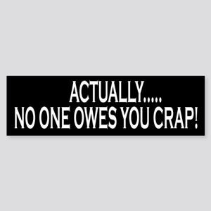 Actually No One Owes You Crap Bumper Sticker