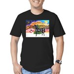 XmsMusic2/Horse (Ar-blk) Men's Fitted T-Shirt (dar