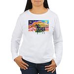 XmsMusic2/Horse (Ar-blk) Women's Long Sleeve T-Shi