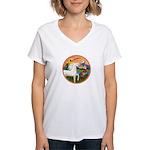 XmsFntsy/Horse (Ar-W) Women's V-Neck T-Shirt