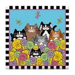 6 Cats & Colorful Ferns Tile Coaster