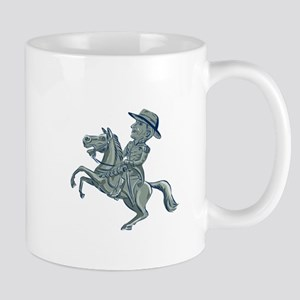 American Cavalry Officer Riding Horse Prancing Car