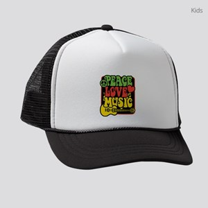 Rasta Peace Love Music Kids Trucker hat