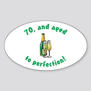 70, Aged To Perfection Oval Sticker