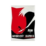 Nobody Surfs Like a Wahine Rectangle Magnet (100 p