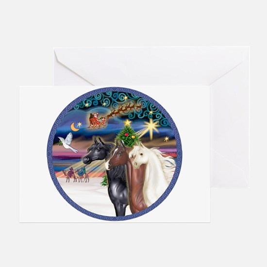 XmsMagic/3 Horses (Ar) Greeting Card