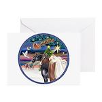 XmsMagic/3 Horses (Ar) Greeting Cards (Pk of 10)