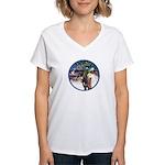 XmsMagic/3 Horses (Ar) Women's V-Neck T-Shirt