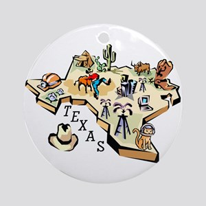Texas Map Ornament (Round)