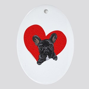 Black Frenchie Lover Ornament (Oval)
