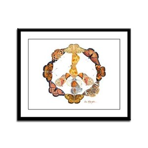 Butterfly Peace Sign Framed Panel Print