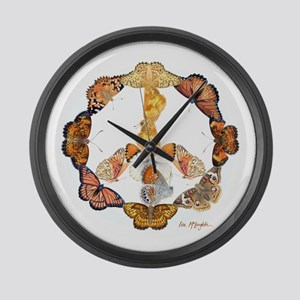 Butterfly Peace Sign Large Wall Clock