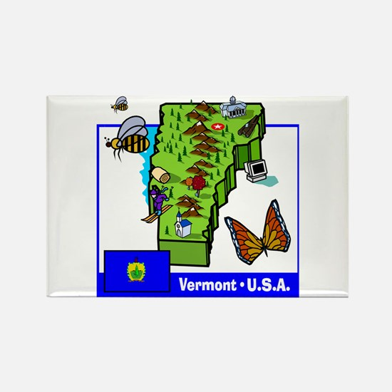 Vermont Map Rectangle Magnet