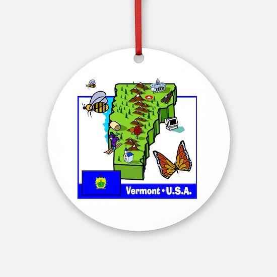Vermont Map Ornament (Round)