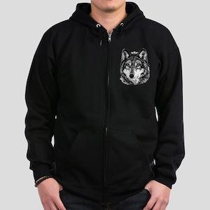 Painted Wolf Grayscale Zip Hoodie (dark)