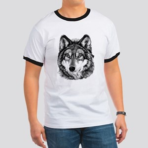 Painted Wolf Grayscale Ringer T