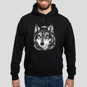 Painted Wolf Grayscale Hoodie (dark)