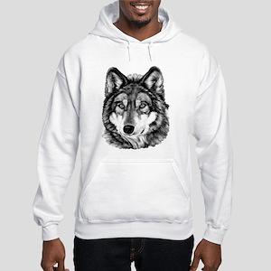 Painted Wolf Grayscale Hooded Sweatshirt