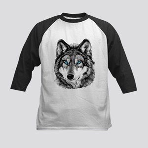 Painted Wolf Grayscale Kids Baseball Jersey