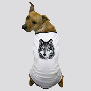 Painted Wolf Grayscale Dog T-Shirt