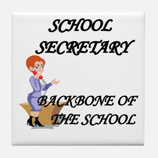 Cool School secretary day Tile Coaster