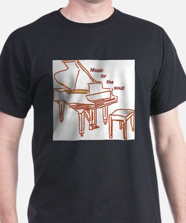 Music for the Soul (red piano) Black T-Shirt