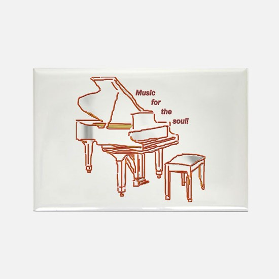 Music for the Soul (red piano) Rectangle Magnet
