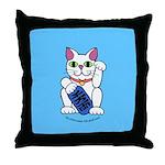 ManekiNeko Blue Throw Pillow