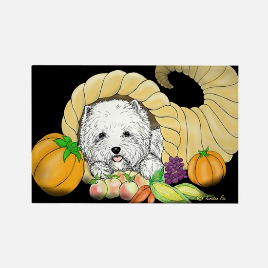 Thanksgiving Westie Rectangle Magnet