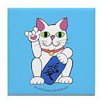 ILY Neko Cat Blue Tile Coaster