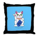 ILY Neko Cat Blue Throw Pillow