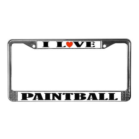 I Love Paintball License Plate Frame