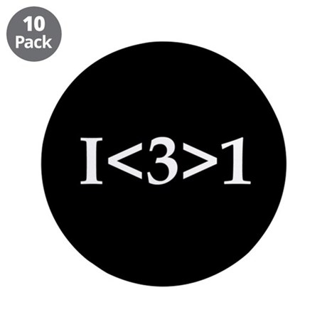 """I<3>1 3.5"""" Button (10 pack)"""