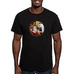 Santa/Horse (Ar-W) Men's Fitted T-Shirt (dark)