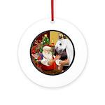 Santa/Horse (Ar-W) Ornament (Round)