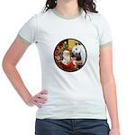 Santa/Horse (Ar-W) Jr. Ringer T-Shirt