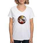 Santa/Horse (Ar-W) Women's V-Neck T-Shirt