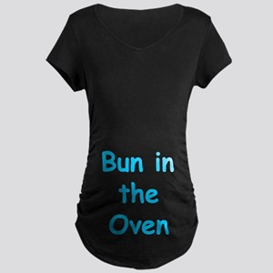Bun in Oven Blue Maternity Dark T-Shirt