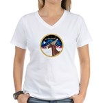 XmsSunrs/Horse (Ar-Br) Women's V-Neck T-Shirt