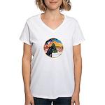 XmsMusic2/Horse (Ar-blk) Women's V-Neck T-Shirt