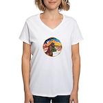 XmsMusic2/Horse (Ar-Br) Women's V-Neck T-Shirt